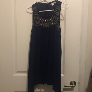 Navy blue and gold detailed dress